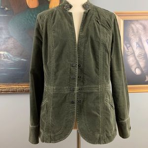 Coldwater Creek Green Velvet Like Jacket Like New